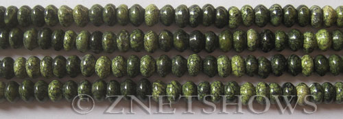 Other stone & material green band jasper rondelle Beads <b>6x4mm</b> Green Band Stone    per   <b> 15.5-in-str</b>