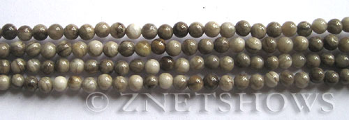 silver leaf  round Beads <b>4mm</b>     per   <b> 8-in-str</b>