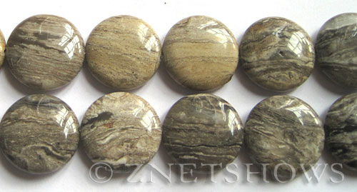 silver leaf  coin Beads <b>20mm</b>     per   <b> 8-in-str</b>