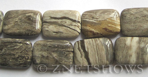 silver leaf  rectangle Beads <b>25x18mm</b>     per   <b> 8-in-str</b>