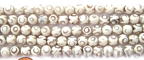 agate faceted round Beads <b>8mm</b> white with eye dots    per   <b> 8-in-str</b>