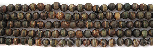 agate brown green with line patterns round Beads <b>6mm</b>     per   <b> 8-in-str</b>