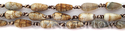 agate  teardrop round Beads <b>15x8mm</b> beige rainbow with spider-webs    per   <b> 16-pc-str</b>