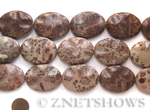 Other stone & material variegated jasper twisted oval Pendants <b>about 40x30mm </b>     per   <b> 15.5-in-str </b>