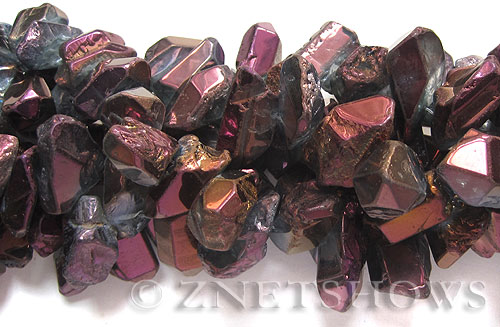 crystal quartz  Metallic Purple freeform Beads <b>about 22x10mm-42x15mm </b>     per   <b> 15.5-in-str </b>