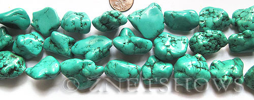 howlite magnesite turquoise green color nugget Pendants <b>about 30x22mm-25x18mm</b>     per   <b> 15.5-in-str</b>