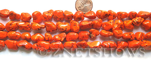 howlite magnesite  nugget Beads <b>about 18x13mm-16x12mm</b> orange color    per   <b> 15.5-in-str</b>