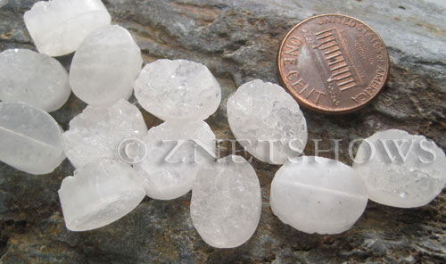 crystal quartz  oval nugget Beads <b>14x10mm</b>     per   <b> 6-pc-bag</b>