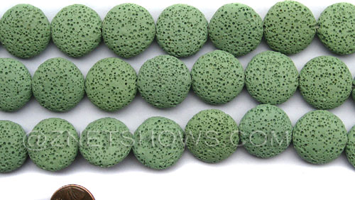 lava lava - 23-Peridot coin Beads <b>20mm</b>     per   <b> 8-in-str</b>