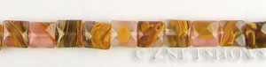 golden strawberry glass quartz faceted square puffed Beads <b>About 10mm</b>     per   <b> 15.5-in-str</b>