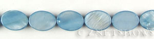 shell dyed cyan color oval puffed Beads <b>18x13mm</b>  length-drilled   per   <b> 15.5-in-str</b>