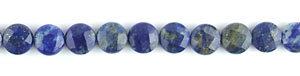 lapis faceted coin puffed Beads <b>10mm</b> Natural color    per   <b> about 8-in-str</b>