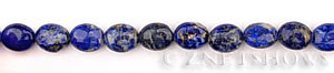 lapis  oval puffed Beads <b>10x8mm</b>  length-drilled   per   <b> 15.5-in-str</b>