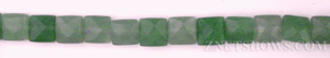 green aventurine faceted square puffed Beads <b>8mm</b>     per   <b> 15.5-in-str</b>