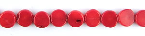 coral bamboo coral dyed red color coin flat Beads <b>about 9-10mm</b>     per   <b> 15.5-in-str</b>