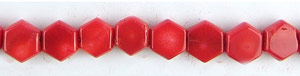 coral bamboo coral dyed red color hexagon Beads <b>10mm</b>     per   <b> 15.5-in-str</b>