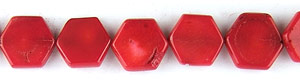coral bamboo coral dyed red color hexagon Beads <b>15mm</b>     per   <b> 15.5-in-str</b>