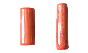 coral bamboo coral peach color tube Pendants <b>30-35x11-13mm</b>     per   <b> piece</b>