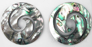 shell - abalone  round Pendants <b>About 44mm</b> double waves    per   <b>piece</b>