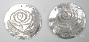 shell - white  round Pendants <b>About 47mm</b> rose flower    per   <b>Piece</b>