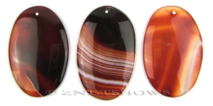 sardonyx  oval puffed Pendants <b>about 60x40mm</b>  color enhanced  (have more white bandings)   per   <b>Piece</b>