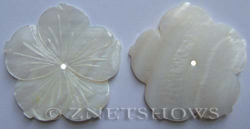 shell - white  flower Pendants <b>about 47mm</b> five petals center-drilled with 2mm hole   per   <b>Piece</b>