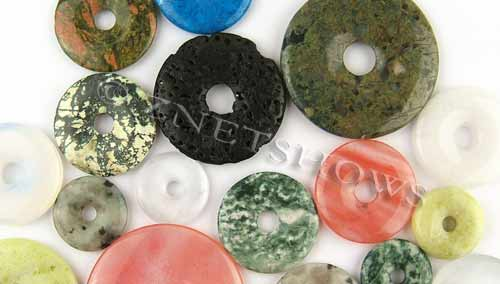 Other Stones & materials -  Mixed stone and glass donut Pendants <b>varies</b>     per   <b>About 10-oz-bag</b>