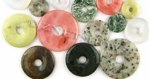 Other Stones & materials -  Mixed stone and glass donut Pendants <b>varies</b>     per   <b>1-pound-bag</b>