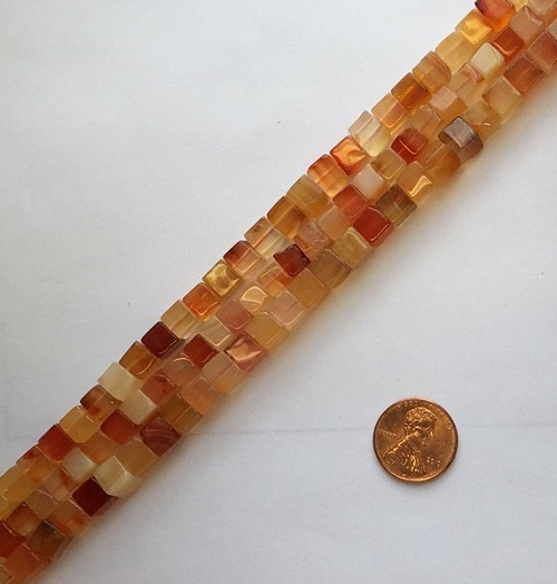 carnelian  cube Beads <b>6mm</b>     per   <b> 15.5-in-str</b>
