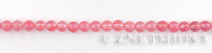 strawberry glass quartz  round Beads <b>4mm</b>     per   <b> 16 Inch Strand</b>