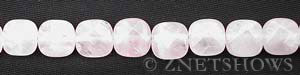 rose quartz faceted square puffed Beads <b>12mm</b>     per   <b> 15.5-in-str</b>