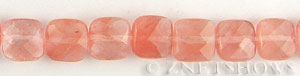 strawberry glass quartz faceted square puffed Beads <b>12mm</b>     per   <b> 15.5-in-str</b>