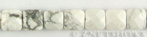 white howlite faceted square puffed Beads <b>12mm</b>     per   <b> 15.5-in-str</b>