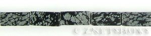 snowflake obsidian  rectangular prism Beads <b>16x8mm</b>  length-drilled   per   <b> 15.5-in-str</b>
