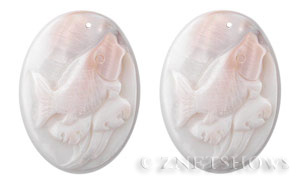shell - white  oval Pendants <b>46X32mm</b> carved wave riding fish   per   <b>Piece</b>
