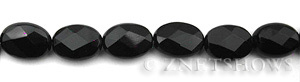 black onyx faceted oval puffed Beads <b>14x10mm</b>  length-drilled   per   <b> 15.5-in-str</b>