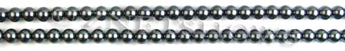 Glass Pearls <b>4mm</b> Round Dark Gray Color K0301 (15.5-in-str)   per <b>5-str-hank</b>