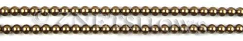 Glass Pearls <b>4mm</b> Round Copper Color K0373 (15.5-in-str)   per <b>5-str-hank</b>