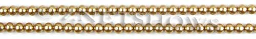 Glass Pearls <b>4mm</b> Round Khaki Color K0689 (15.5-in-str)   per <b>5-str-hank</b>