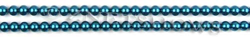 Glass Pearls <b>4mm</b> Round Montana Color K0735 (15.5-in-str)   per <b>5-str-hank</b>