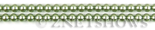 Glass Pearls <b>4mm</b> Round olive green K668   per <b>15.5-in-str</b>