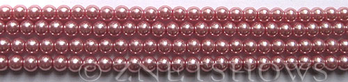 Glass Pearls <b>4mm</b> Round rosy pink color K1092   per <b>15.5-in-str</b>