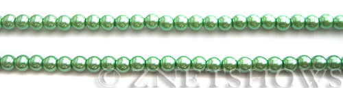 Glass Pearls <b>4mm</b> Round Vivid Green Color K0080 (15.5-in-str)   per <b>5-str-hank</b>