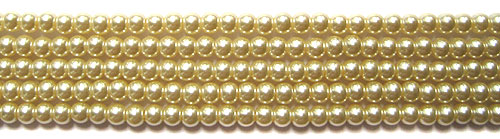 Glass Pearls <b>4mm</b> Round Vanila K0205(15.5-in-str)    per <b>5-str-hank</b>