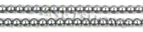 Glass Pearls <b>6mm</b> Round Gray Color K0357 (15.5-in-str)   per <b>5-str-hank</b>