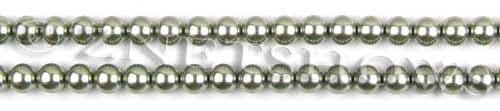 Glass Pearls <b>6mm</b> Round Sage Color K0551 (15.5-in-str)   per <b>5-str-hank</b>