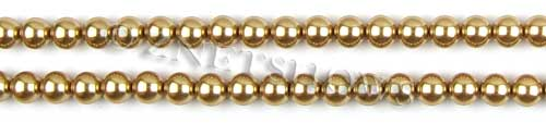 Glass Pearls <b>6mm</b> Round Khaki Color K0689 (15.5-in-str)   per <b>5-str-hank</b>