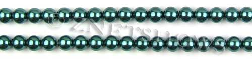 Glass Pearls <b>6mm</b> Round Teal Green Color K1182 (15.5-in-str)   per <b>5-str-hank</b>
