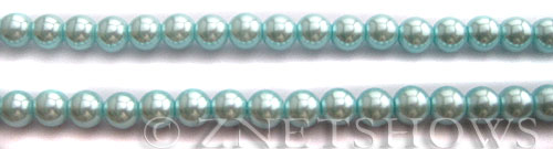 Glass Pearls <b>6mm</b> Round Light Tender Blue Color K0531 (15.5-in-str)   per <b>5-str-hank</b>
