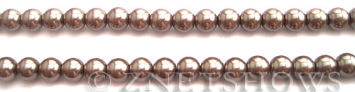 Glass Pearls <b>6mm</b> Round Cocoa Color K1078(15.5-in-str)   per <b>5-str-hank</b>